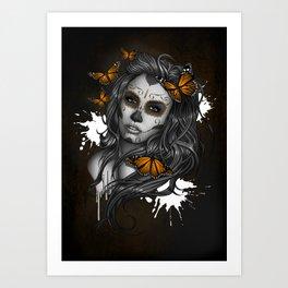 Sugar Skull Tattoo Girl with Butterflies Art Print