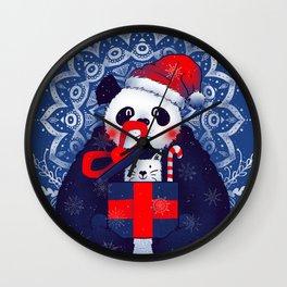 Panda Xmas Gift Wall Clock