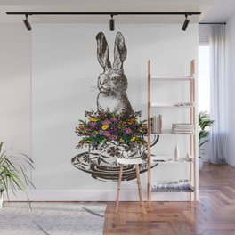 Rabbit in a Teacup | Vintage Rabbit in Tea Cup with Wildflowers | Bunny Rabbits | Bunnies | Hares | Wall Mural