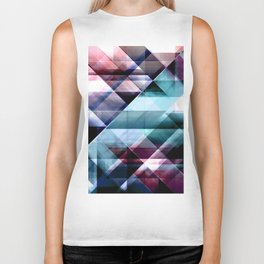 Burgundy Teal and Blue Abstract Geometric Pattern Biker Tank