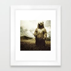 Bear in mountain landscape Framed Art Print