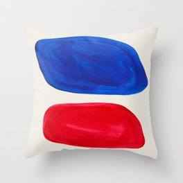 Mid Century Modern Retro Minimalist Colorful Shapes Phthalo Blue Red Rothko Pebbles Throw Pillow