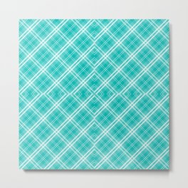 Blue & White Diagonal Plaid Scottish Clan McTiffany Metal Print