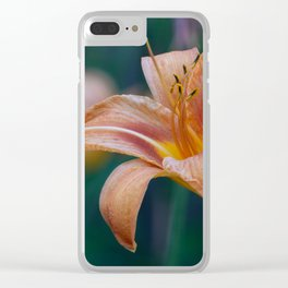 Orange Lily Detailed Petals Clear iPhone Case