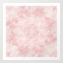 Elegant poinsettia and snowflakes doodles mandala art Art Print