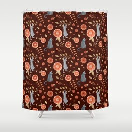 Flowers and climbing cats Shower Curtain