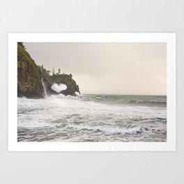 Cape Disappointment Lighthouse Washington Columbia River Storm Seascape Ocean Landscape Waves Victorian Nature Wilderness Art Print