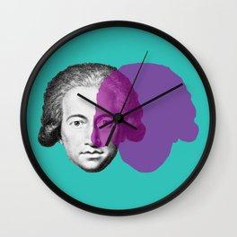 Goethe - teal and purple portrait Wall Clock