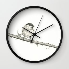 Milk-Warm Mewling of Chickadees Wall Clock