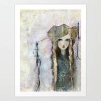 jane davenport Art Prints featuring Gesso Geisha by Jane Davenport by Jane Davenport