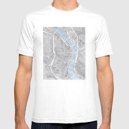 Portland Oregon watercolor city map art T-shirt