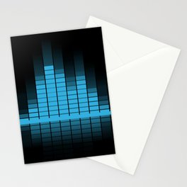 Cool Blue Graphic Equalizer Music on black Stationery Cards