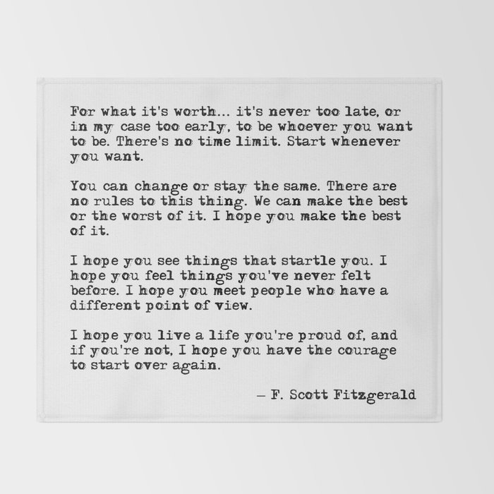 For What Its Worth F Scott Fitzgerald Quote Throw Blanket By