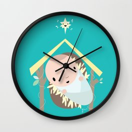 Baby Cartoon Jesus wishes you a Merry Christmas Wall Clock