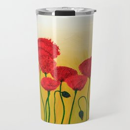 Abstraction Red Poppies Yellow Background Travel Mug