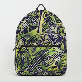 Blue Hawaiian Green Ancient Pattern Backpack