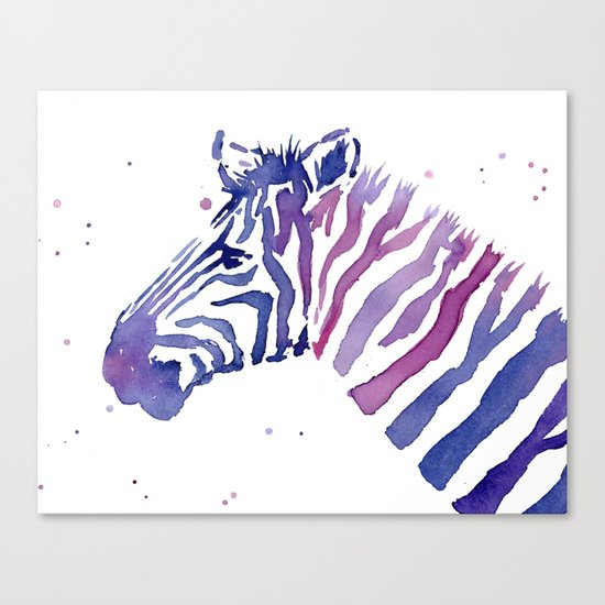 Zebra Watercolor Purple Stripes Animal Canvas Print
