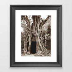 Angkor Temple Ta Prohm Siem Reap Cambodia BW Framed Art Print