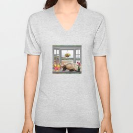 Ferret Summer Vacation Unisex V-Neck