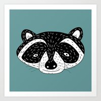 racoon Art Prints featuring racoon! by gal shkedi
