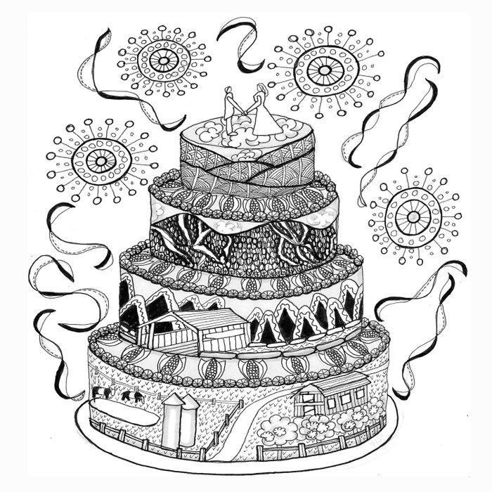 Country Wedding Cake Zentangle Style Duvet Cover