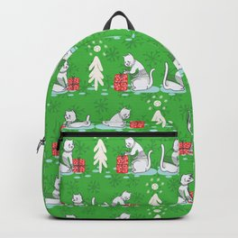 White Christmas Cat in Embroidery Sweater Seamless Vector Pattern Backpack