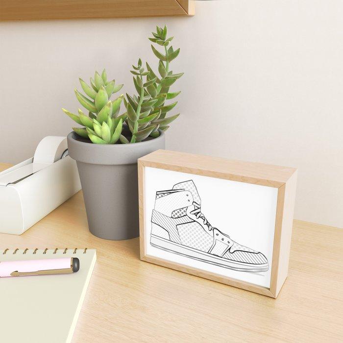 sneaker illustration pop art drawing - black and white graphic Framed Mini Art Print