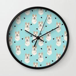 Akita dog pattern triangles cute dog portrait pet friendly dog breeds akitas Wall Clock