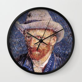 Self-Portrait with Grey Felt Hat by Vincent van Gogh Wall Clock