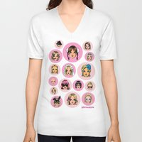 britney spears V-neck T-shirts featuring CartooNEY - Britney Spears Cartoons by Eduardo Sanches Morelli