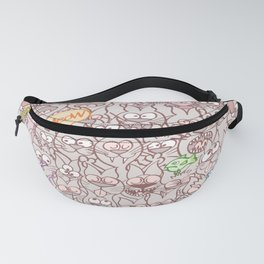 Seamless pattern world crowded with funny cats Fanny Pack