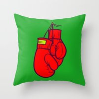 boxing Throw Pillows featuring Boxing Gloves by Artistic Dyslexia