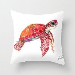 Turtle Children Animal design Red, pink Orange cute turtle Throw Pillow