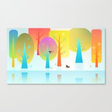 Winter Friends Meet In The Woods Canvas Print