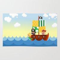 pirate ship Area & Throw Rugs featuring pirate ship by Alapapaju
