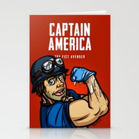 steve rogers Stationery Cards featuring Steve Rogers, The Fist Avenger by Randy Meeks