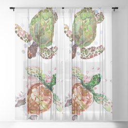 Turtles, Olive Green Cherry Colored Sea Turtles, turtle Sheer Curtain