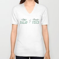 french fries V-neck T-shirts featuring Side Salad or French Fries by Daily Dishonesty
