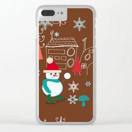 winter fun brown Clear iPhone Case