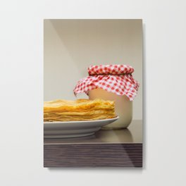 Pancakes with sour cream Metal Print