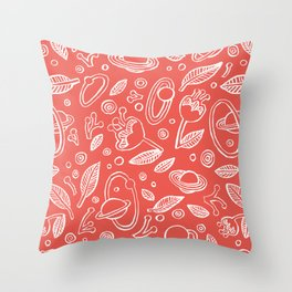 Spaceflowers red Throw Pillow