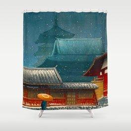 Vintage Japanese Woodblock Print Japanese Red Shinto Shrine Pagoda Winter Snow Shower Curtain