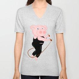Pig Skipping Unisex V-Neck