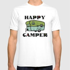 Happy Camper MEDIUM White Mens Fitted Tee