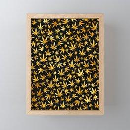 Black Gold Weed Pattern Framed Mini Art Print