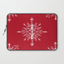 Large snowflakes on Christmas red Laptop Sleeve