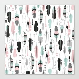 Arrows and feathers summer pattern Canvas Print