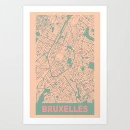 Bruxelles, Belgique, city map, Apricot Art Print