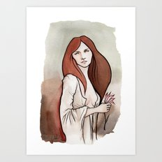Brunette in Drapery Art Print