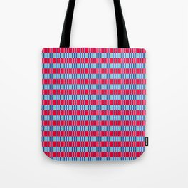 Striped basket pattern red and blue Tote Bag